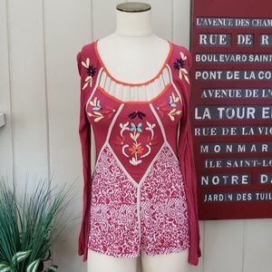 Ric Tac | Anthropologie | S embroidered top